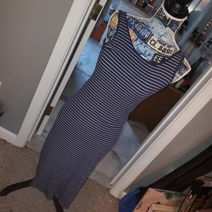 Navy blue and white striped maxi dress.